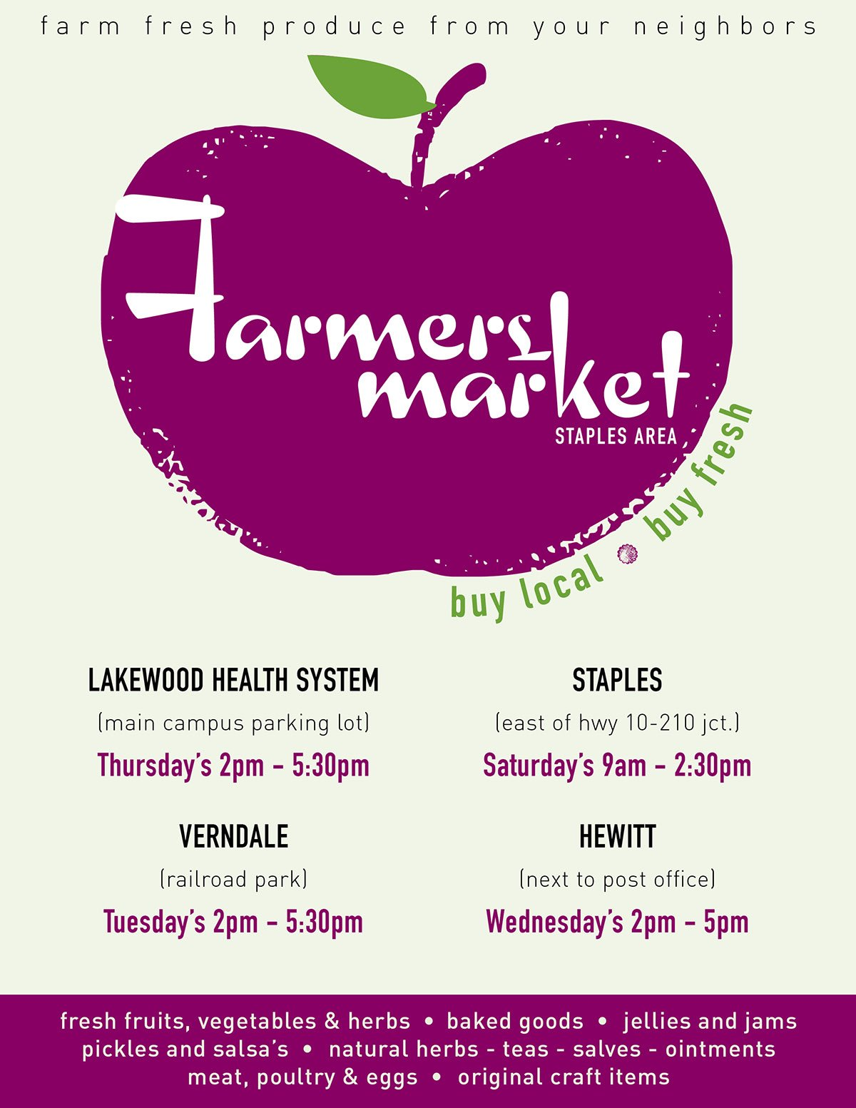 Staples Area Farmer's Market Poster